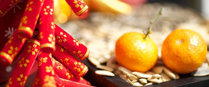 Lunar New Year decorations and food